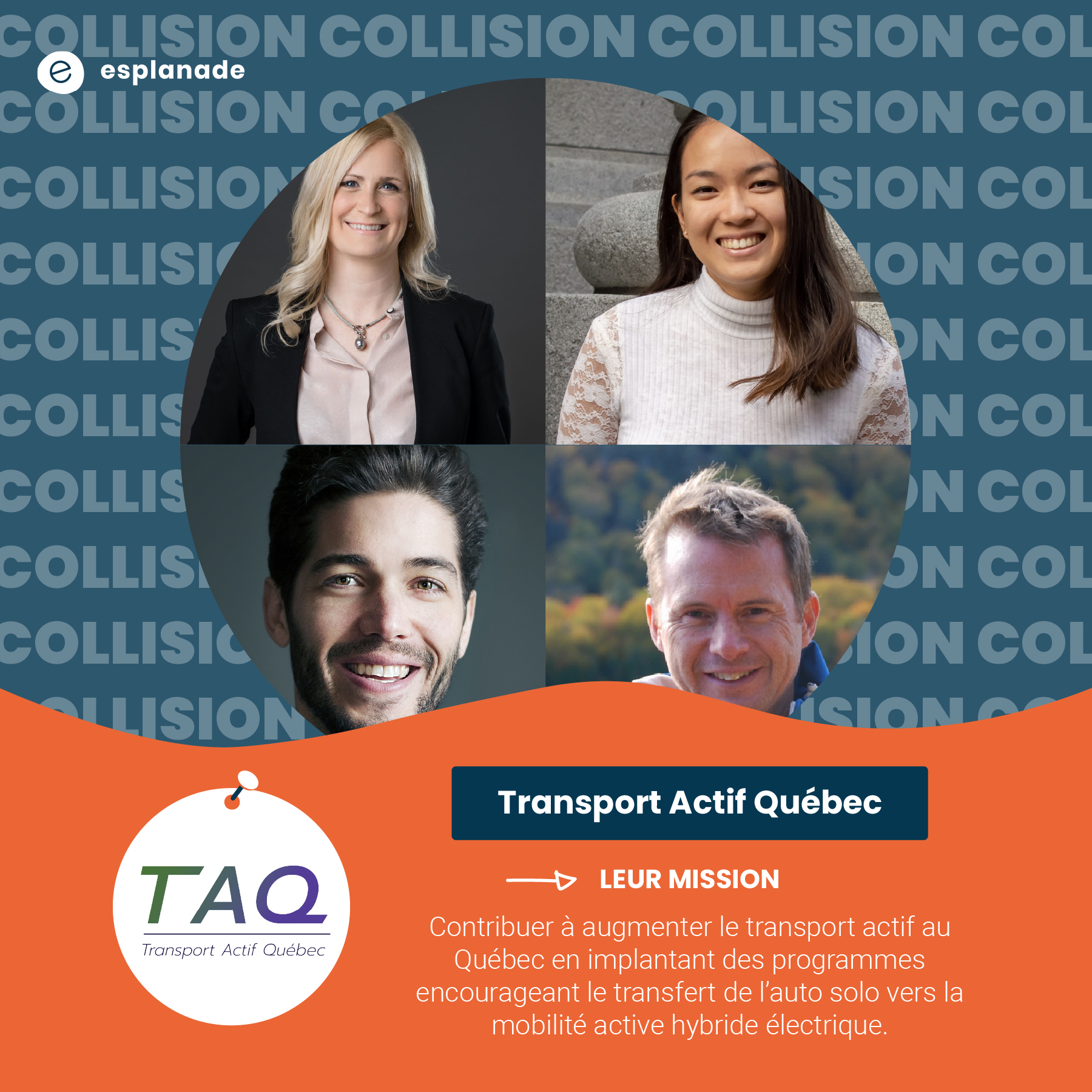 Stéphane Peevers, Belynda Francoeur, Charles Leclerc et Melody Tim Yen, de Transport Actif Québec